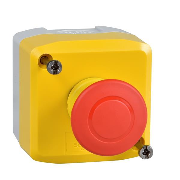 TELEMECANIQUE - geel station - 1 rode drukknop met vuistslagkop Ø40, duw-trek 1NC