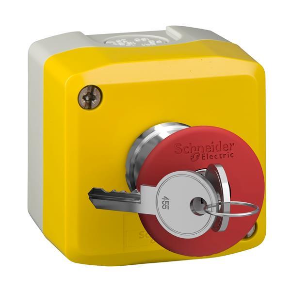 TELEMECANIQUE - geel station-1 rode drukknop met vuistslagkop Ø40, ontgrendelen met sleutel 1NC