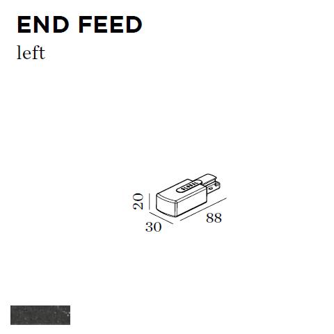 WEVER & DUCRE - END FEED LEFT 30x88x20mm zwart