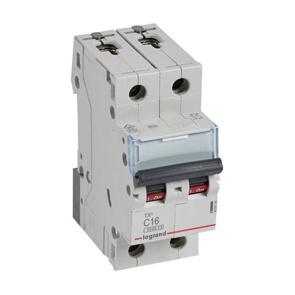LEGRAND - Disjoncteur TX³ 6000A/6kA 2P C16 230/400V - 2 modules