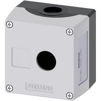 SIEMENS - Behuizing, 22mm, rond, kunststof, grijs, 1 drukknop, kunststof, RECESS FOR LABEL