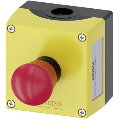 SIEMENS - Behuizing, 22mm, rond, kunststof, geel, 1 drukknop, kunststof, met noodstop, roo