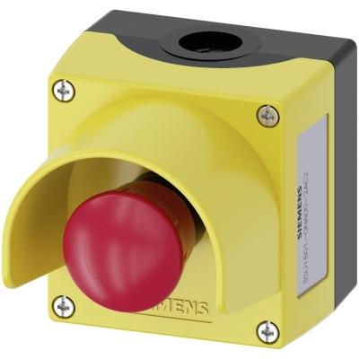 SIEMENS - Behuizing, 22mm, rond, kunststof, geel, 1 drukknop, kunststof, met beschermkraag