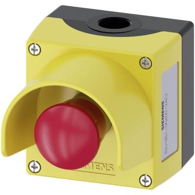 SIEMENS - Behuizing, 22mm, rond, metaal, geel, met beschermkraag, 1 noodstop drukknop, met