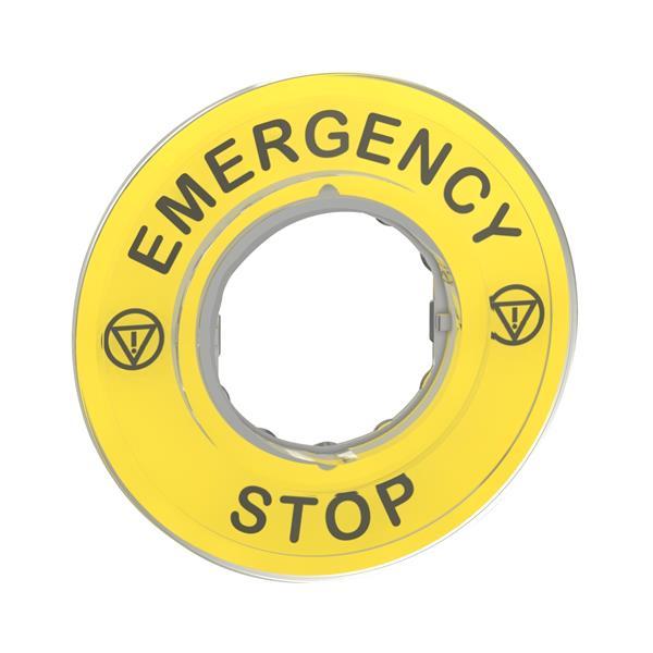 TELEMECANIQUE - légende marquée Ø60 arrêt urgence - EMERGENCY STOP/logo ISO13850