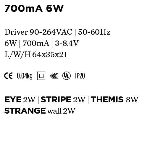 WEVER & DUCRE - DRIVER 700mA 6W 64x35x21