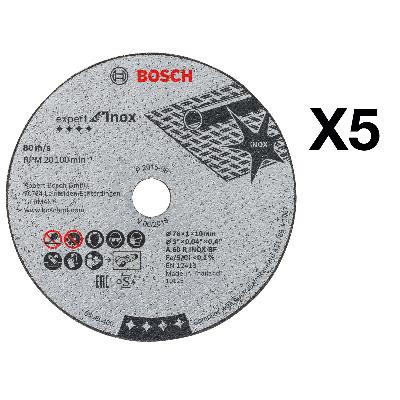 BOSCH - Disque à tronçonner Expert for Inox Ø 76mm, alésage 10mm, épaisseur 1,0mm, 5 pcs