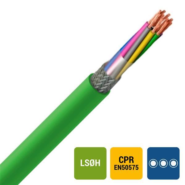 SPECIALE KABEL - LIHCH Cca s1d2a1 LS0H groen afgeschermd HAR HD308 2X0,75mm²