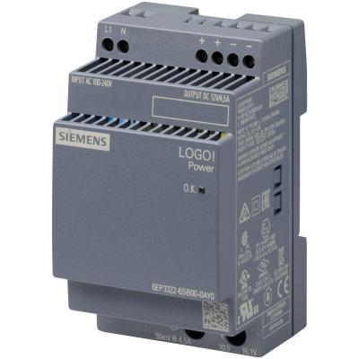 SIEMENS - LOGO!POWER 12V/4.5A gestabiliseerde voeding 100-240 V AC output: 12V/4.5A DC