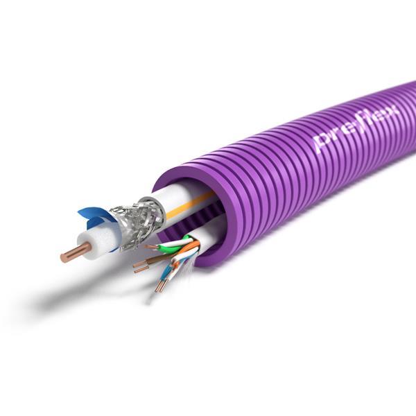 CABLEBEL - Preflex voorbedrade buis 20mm + datakabel U/UTP5E-4P + TRI6 HIRSCHMANN