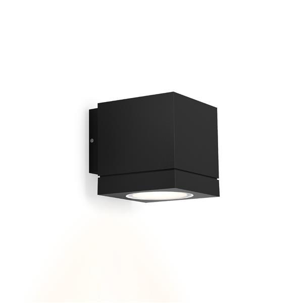 WEVER & DUCRE - TUBE CARRÉ 1.0 PAR16 textuur zwart GU10 muur buiten down vierkant