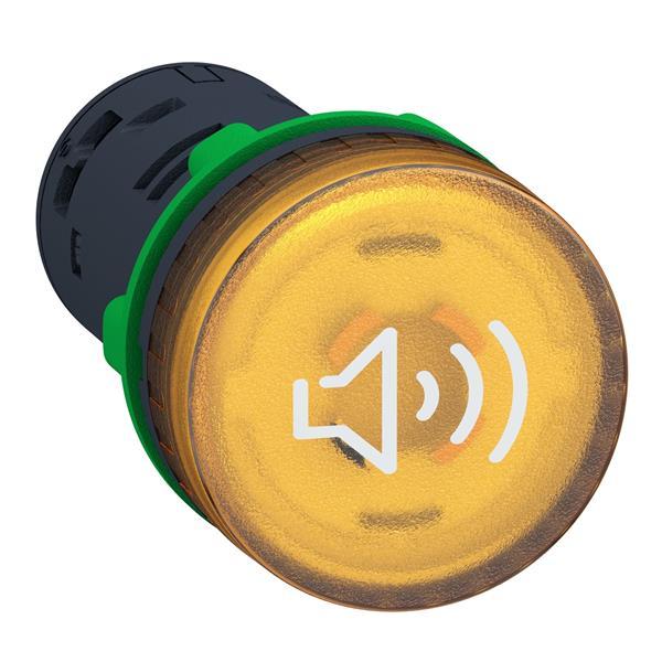 Verlichte buzzer geel 24V AC/DC continu