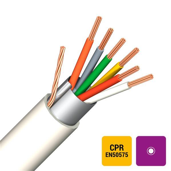 CABLES SPECIAUX - Câble d'alarme blindage global PVC/PVC blanc Eca 6X0,22mm²