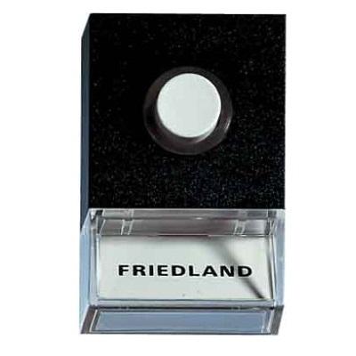FRIEDLAND - drukknop 8V verlicht zwart met witte knop en naamplaat