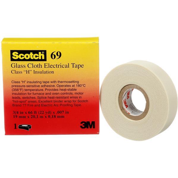 3M - 69 Scotch ruban de tissu de verre avec colle silicone 25mm x 33m blanc
